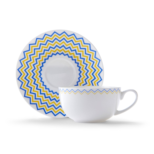 Wave Cappuccino cup and saucer, H7.5 x D11cm, Yellow/Blue