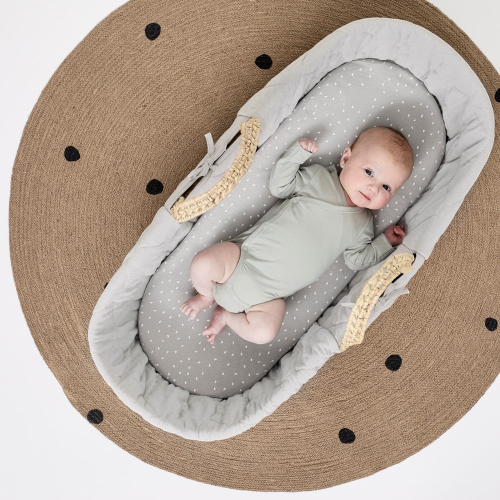 Natural Quilted Moses basket & mattress, H76 x W30 x L76cm, Dove