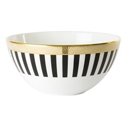 Satori Black Deep coupe bowl, D14.5 x H7cm, black/white/gold