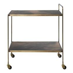 Anne Bar cart, H60 x W42 x L60cm, antique brass/brown