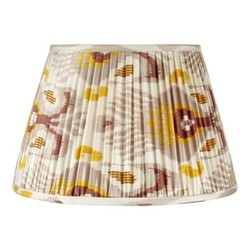 Ikat Silk lampshade, H15 x Dia20cm, Grey/Mustard Yellow