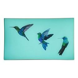Hummingbirds Decoupage tray, 30 x 20cm, pale aqua/gold edging