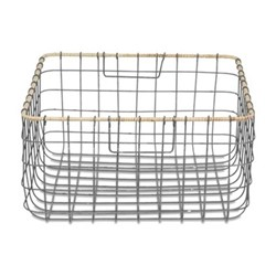 Lemba Wire basket, 20 x 38 x 38cm, distressed grey and wicker rim