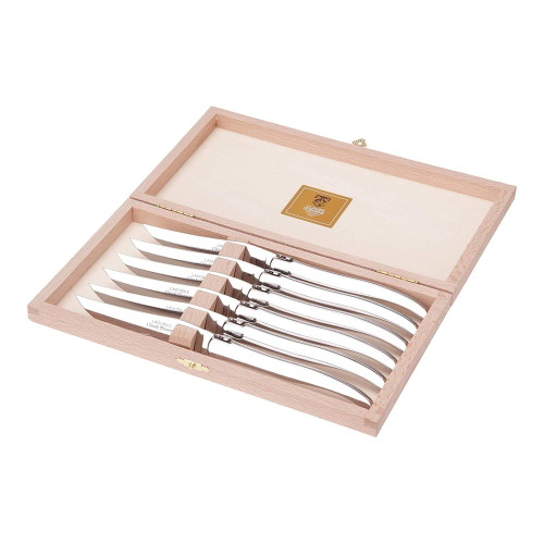 Laguiole Set of 6 steak knives, Polished Stainless Steel