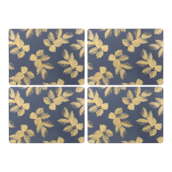 Etched Leaves Set of 4 placemats, 40.1 x 29cm, Navy