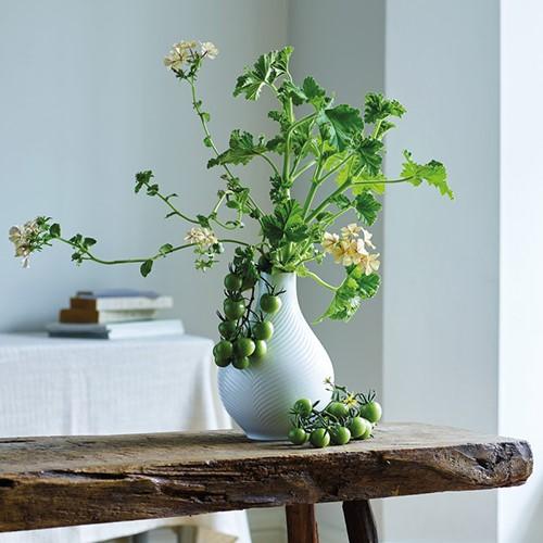 White Folia Bulb vase, 23cm
