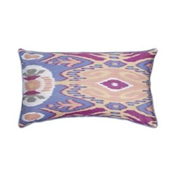 Ikat Cushion, 60 x 40cm, Blue/Peach