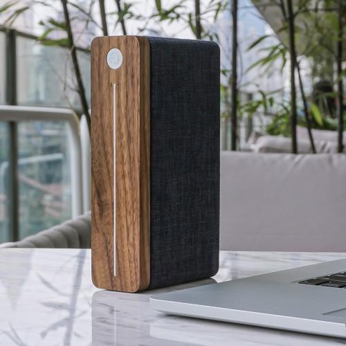 Square HiFi speaker, H18.5 x W4.5 x D10cm, natural walnut