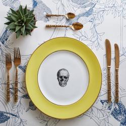 Skull Dinner plate, 27cm, Crisp White With Yellow Border/Burnished Gold Edge
