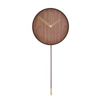 Swing Wall hanging clock with swinging pendulum, L80 x D34cm, polished brass/walnut