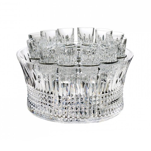 Lismore Diamond Crystal bowl and 12 shot vodka chill set, 25cm