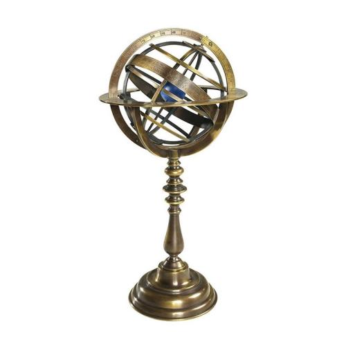 Armillary dial, H36.5 x D18.5cm, Bronzed Brasschrome