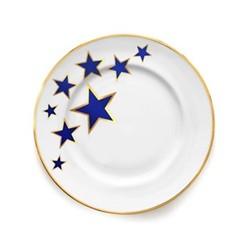 Lucky Stars Dinner plate, 27cm, crisp white & cobalt blue/burnished gold edge