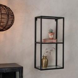 Nakuru Wall hung shelving unit, 77 x 36 x 21cm, iron & glass