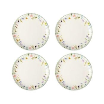 Fleur des Pres Set of 4 side plates, W20 x H2cm, cream
