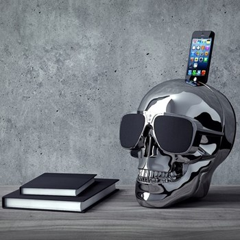 AeroSkull HD+ Bluetooth speaker with docking station, H35 x W35 x D35cm, chrome silver