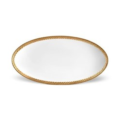 Corde Small oval platter, 36 x 18cm, gold