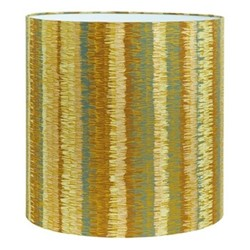 Textured Stripe Lampshade, 36 x 36cm, turmeric/storm