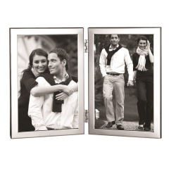 """Flat Narrow Series Photograph frame, hinged with 2 apertures, 6 x 4"""", Sterling Silver With Mahogany Finish Back"""