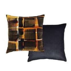 Abstract Check Cushion, L50 x W50cm, ochre/black