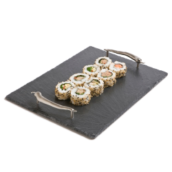 Chilli Handles Serving tray, 50 x 25cm, Slate And Stainless Steel