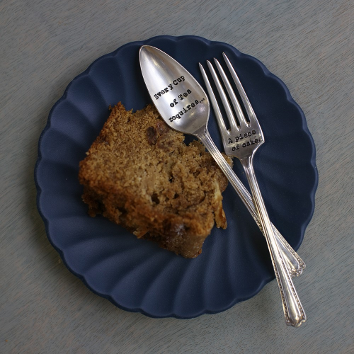 Every Cup Of Tea Requires Teaspoon and cake fork, 13cm, Silver Plated