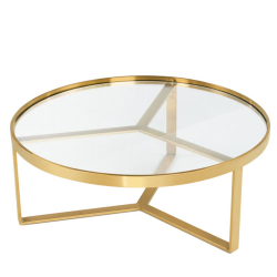 Aula Coffee table, H35 x W90 x D90cm, Brushed Brass And Glass