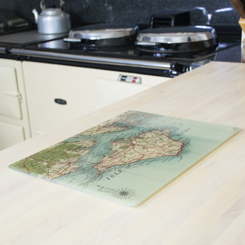 Rectangular worktop saver with personalised map, 40 x 30cm, glass