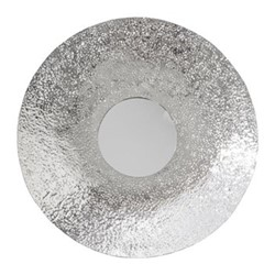 Hammered effect wall mirror, D71cm, silver