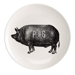 Pig Plate, Dia25.5cm, black/white
