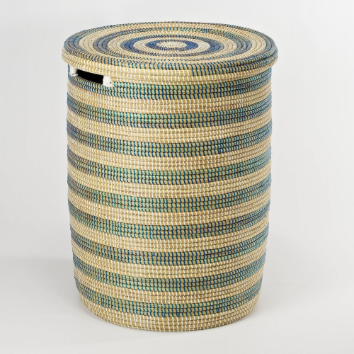 African Laundry basket with flat lid, 38 x 33cm, Natural/Blue Stripes