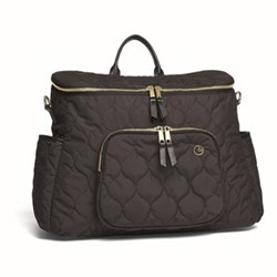 Satchel style 2 way changing bag, black/gold