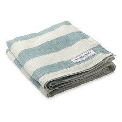 Stripe Linen beach towel, reef green and white