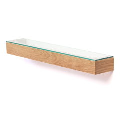 Slimline Wall shelf, H5 x W55 x D9.5cm, Oak/Glass