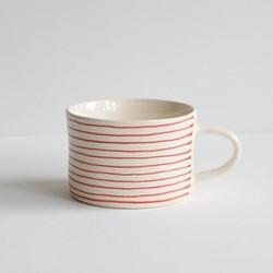 Horizontal Stripe Set of 6 mugs, H7 x W10.5cm, paprika