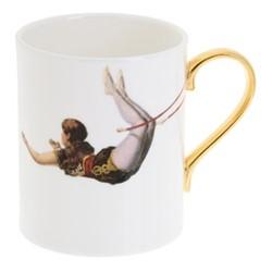 Trapeze Girl Mug, W7.5 x H9cm, crisp white/burnished gold details