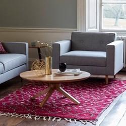 Round oak coffee table H36 x W90 x D90cm