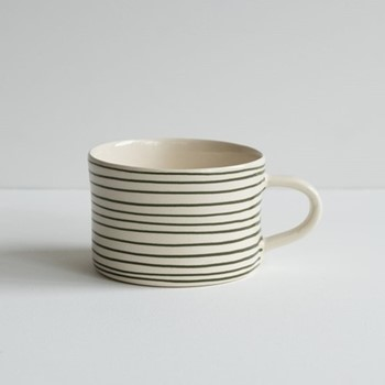 Horizontal Stripe Set of 6 mugs, H7 x W10.5cm, moss green