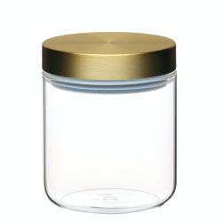 Small storage jar with lid, 10 x 12.5cm, Glass With Burnished Brass Lid