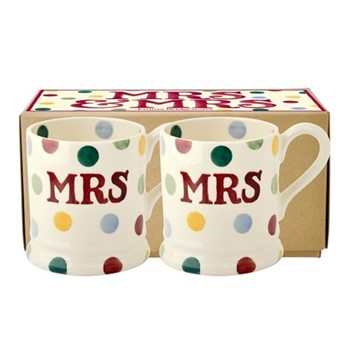 Polka Dot - Mrs & Mrs Pair of mugs, 1/2 pint