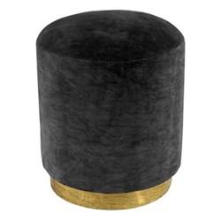 Small footstool, H45 x D40cm, ebony velvet with brass base