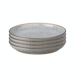 Studio Grey Set of 4 coupe side plates, 17cm, Granite