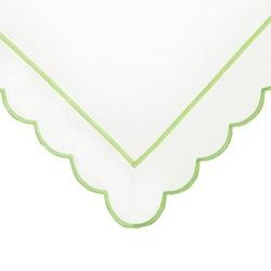 Scallop King size flat sheet, 275 x 275cm, white/green