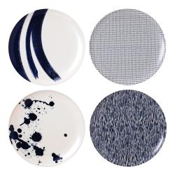 Pacific - Melamine Set of 4 dinner plates, 25cm, Blue