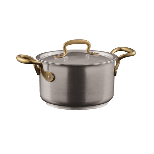 1965 Vintage Sauce pot with lid, 6.5 litre - D24 x H14.5cm, stainless steel