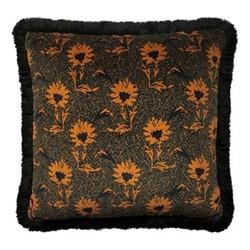 Flora Fringe cushion, W50 x L50cm, ochre / multi
