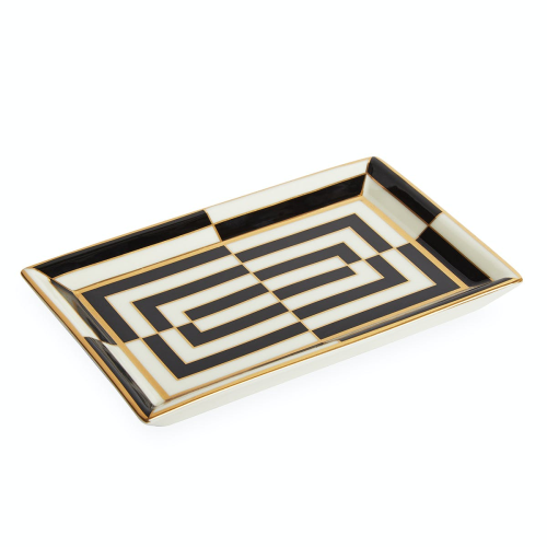 Op Art Rectangle tray, Black/White