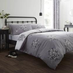 Floral Bouquet King size duvet set, 220 x 230cm, Grey