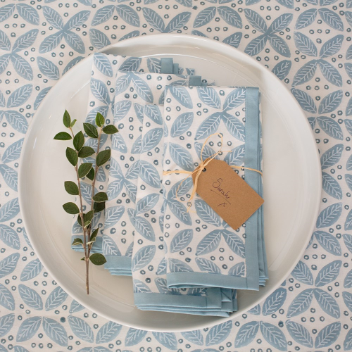 Berry Set of 4 napkins, 45 x 45cm, Blue Cotton