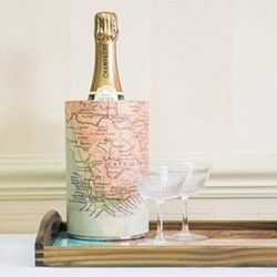 Wine cooler with personalised map, 20 x 12cm, stainless steel and leather